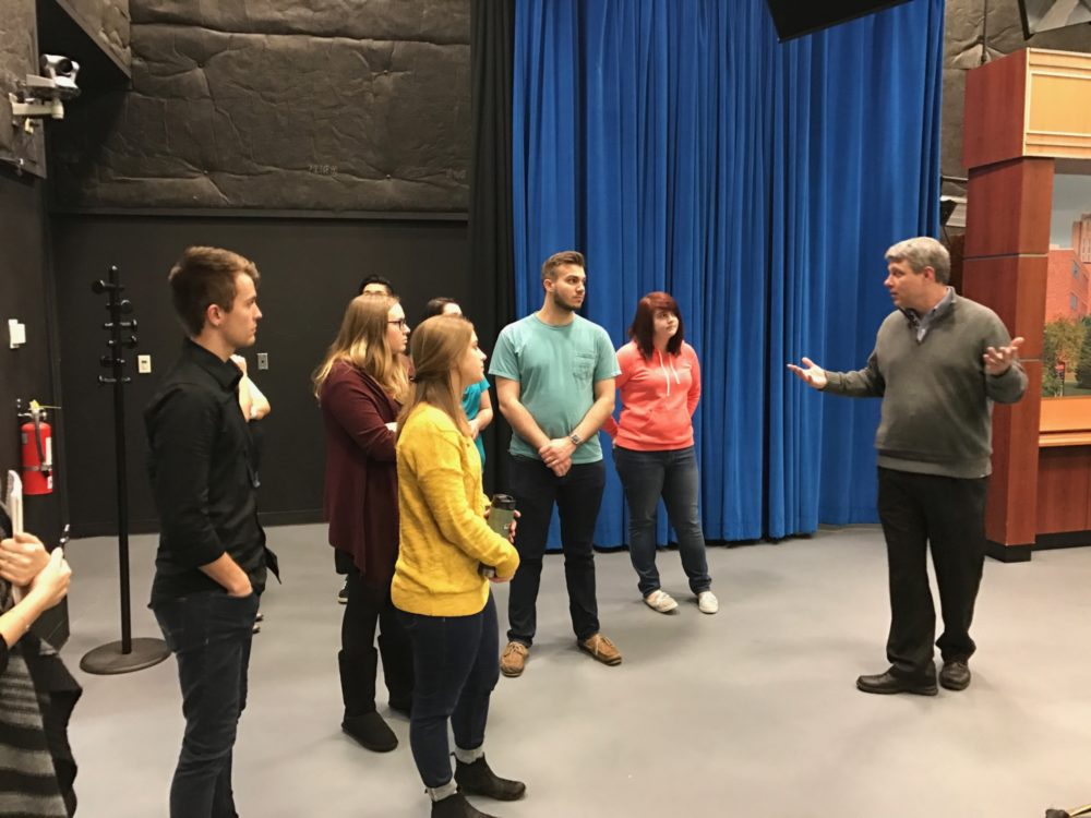 Students Touring Student Media facilities