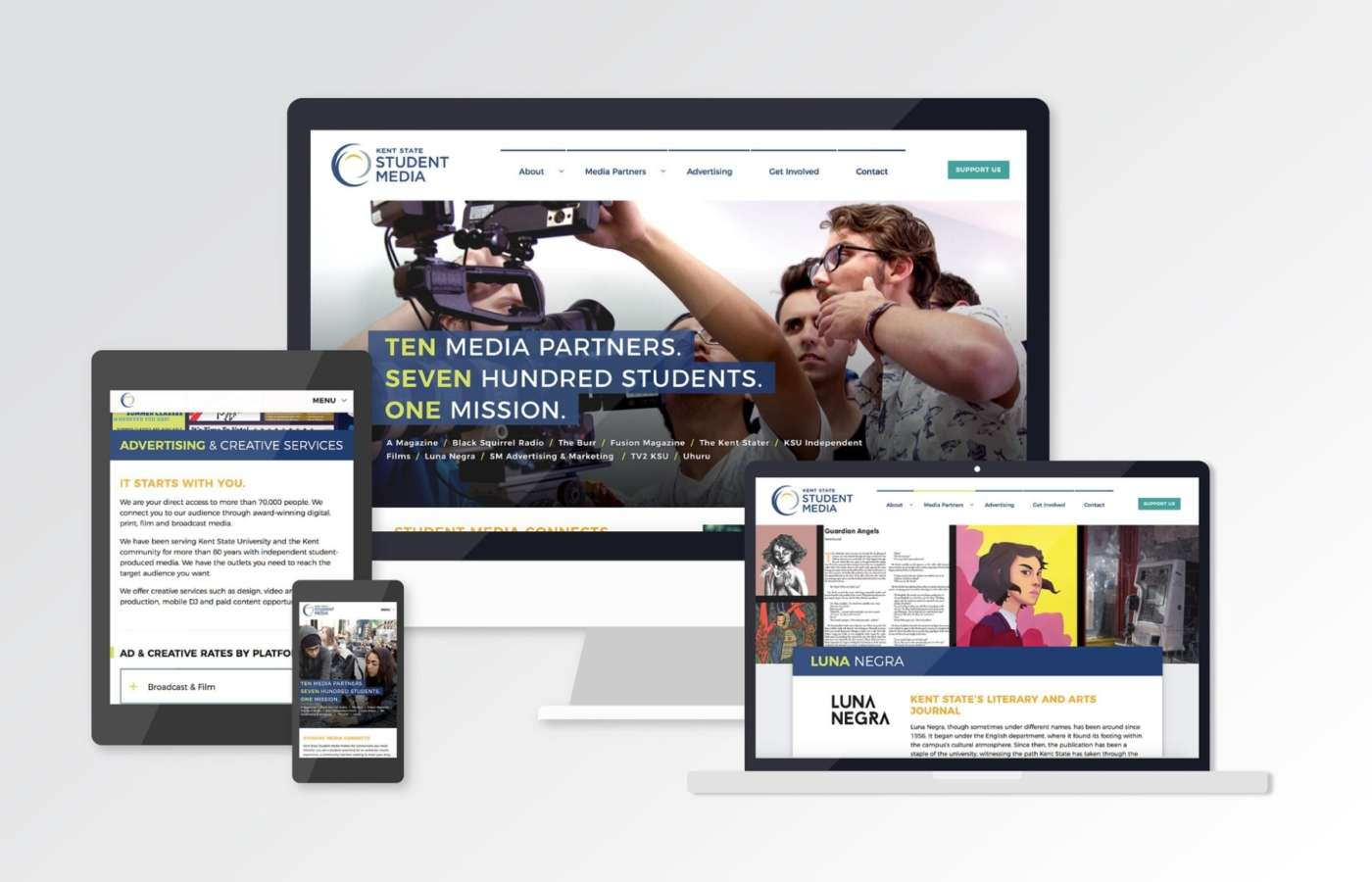 Kent State Student Media website on multiple devices